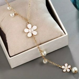 """Jewelry - Delicate Ivory Flower & Pearl """"Y"""" Necklace!! (NWT)"""